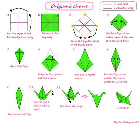 tutorial origami crane  amutsukiyomi  deviantart