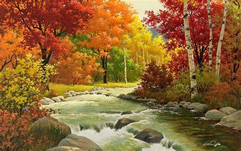 happy garden fall river wallpaper herbst landschaft malerei fluss holz hd