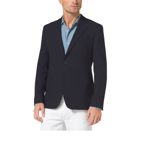Michael Kors Blazer lyst michael kors stretch cotton blazer in blue for