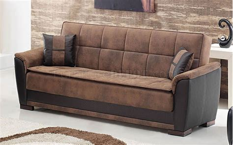 sofa convertible bed two tone brown treated microfiber modern convertible sofa bed