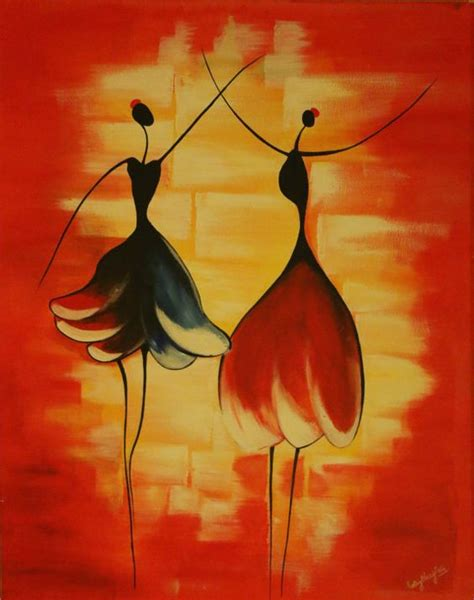 figure acrylic abstract acrylic canvas painting stick figure by