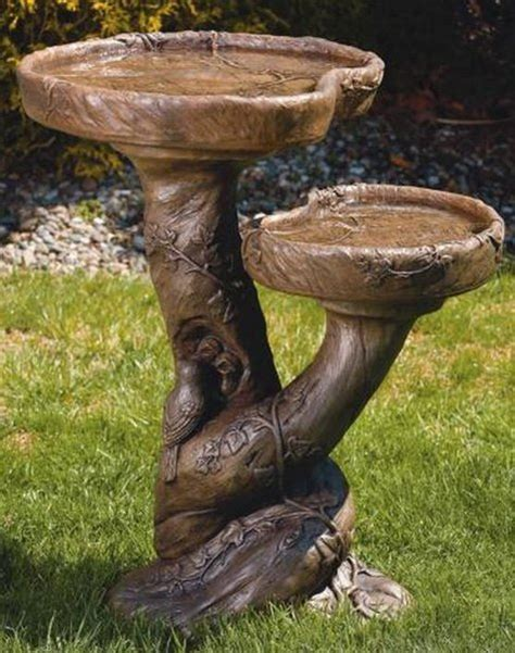 double woodscape bird bath cast stone international