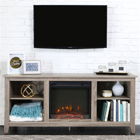 Whalen Fireplace Tv Stand by Whalen Weathered Pine Media Fireplace Console For Tv