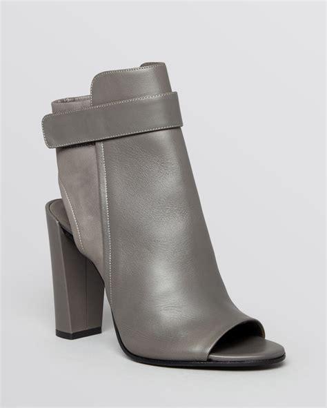 high heel booties for vince open toe booties brigham high heel in gray
