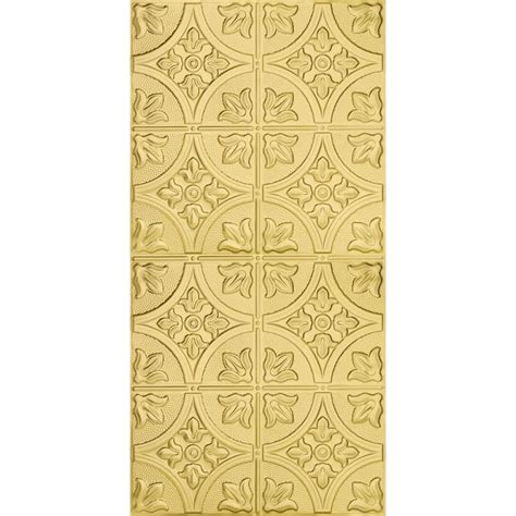 surface mount ceiling tiles shop armstrong metallaire brass patterned surface mount panel ceiling tile common 48 in x 24