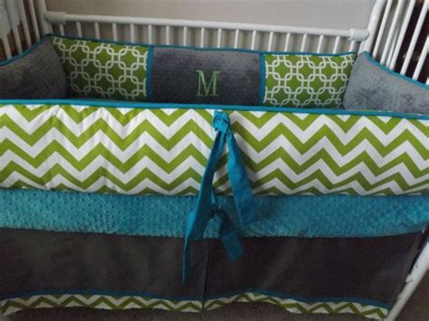 Cheap Chevron Crib Bedding Baby Bedding Crib Set With Teal Lime And Gray Chevron Deposit Gray Chevron Gray And Boys