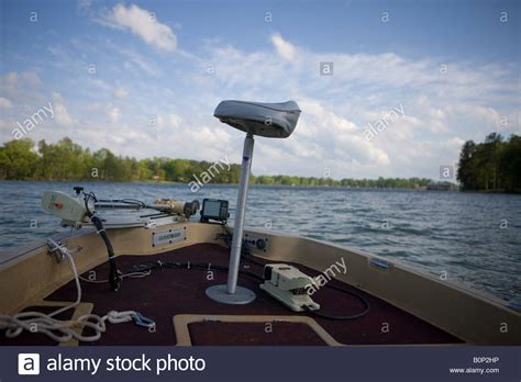 boat motor finder front end bow of a bass boat with empty fishing chair