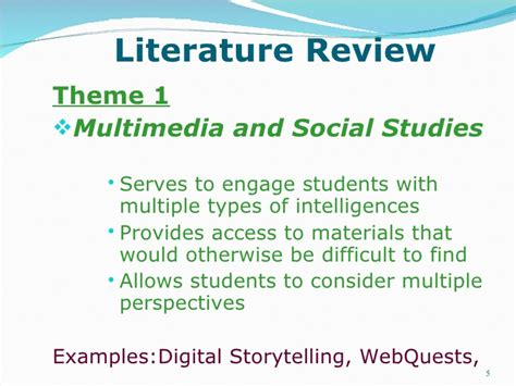 exles of themes in a literature review lit review powerpoint