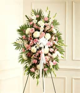 Stargazer Flower Arrangements - pink amp white sympathy standing spray at from you flowers