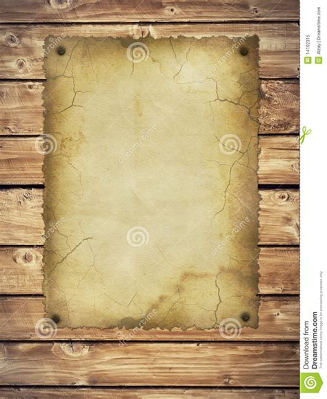 Looking Paper - style retro paper on wooden wall royalty free stock