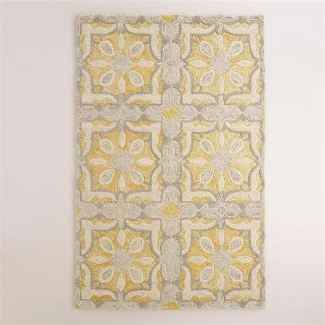 yellow and gray area rug soleil tile tufted yellow and gray wool area rug