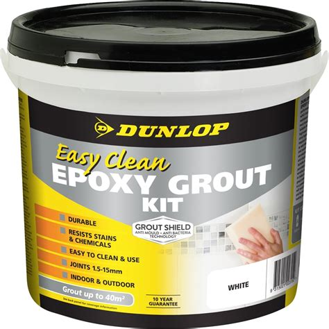 dunlop 3 25kg easy clean epoxy grout kit white bunnings warehouse