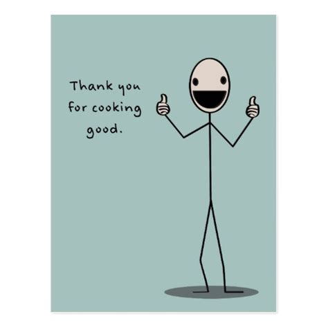 thank you letter to culinary thank you for cooking postcard zazzle
