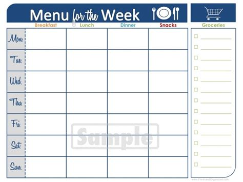 menu chart template weekly meal plan printable calendar template 2016