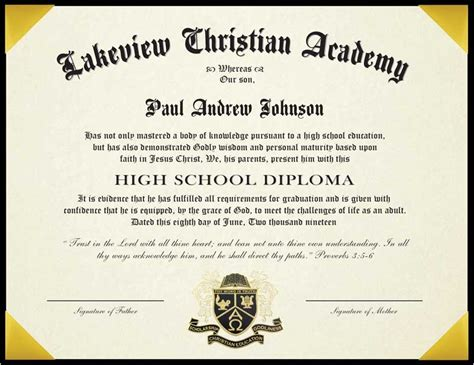 Personalized High School Diploma For Homeschool With 8 5