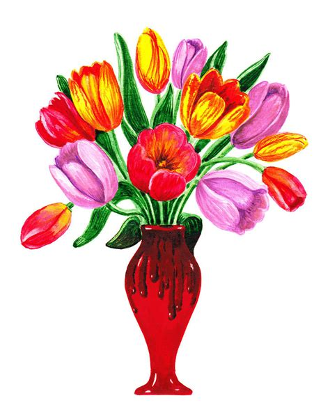 Pictures Of Tulips In Vases by Tulips In The Vase Painting By Irina Sztukowski