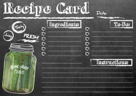 chalkboard recipe card template chalkboard recipe card pickles version print