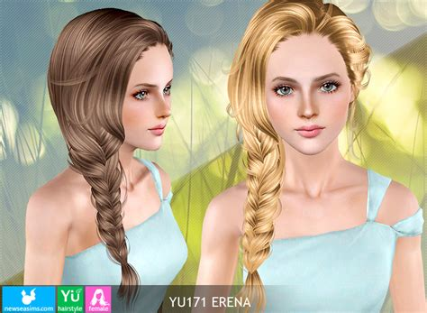 hfs braided hair sims 3 light braided tail hairstyle yu171 erena by newsea for