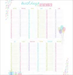 free printable birthday calendar template printable birthday reminder calendar calendar template 2016