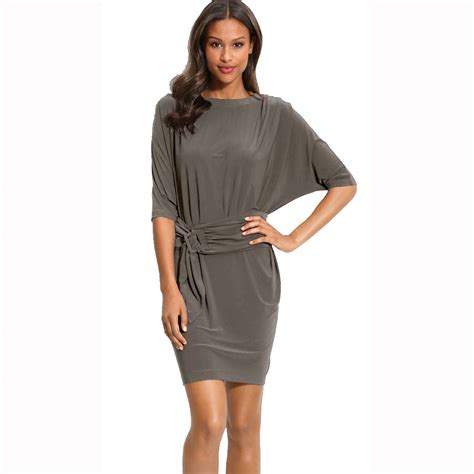 Batwing Dress batwing sleeves crewneck jersey day cocktail