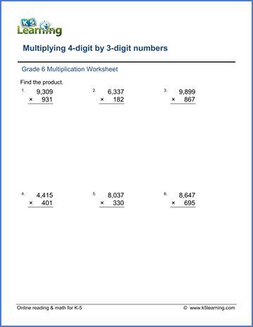 Multiplication Worksheets Grade 6 by Grade 6 Math Worksheet Multiplication Division