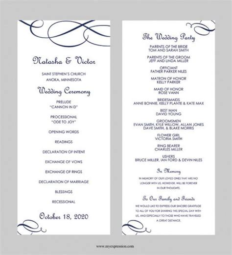 Wedding Program Template Tea Length Calligraphic Flourish Navy Blue Instant Download Do It Yourself Wedding Programs Templates Free