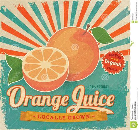 Colorful Vintage Orange Juice Label Poster Stock Vector