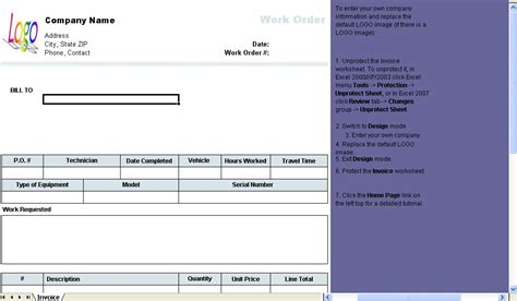 work order invoice template work order template invoice software