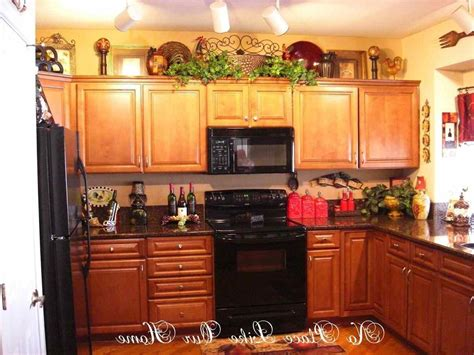Decorating Kitchen Cabinets Decorating Above Kitchen Cabinets Tuscan Style Deductour