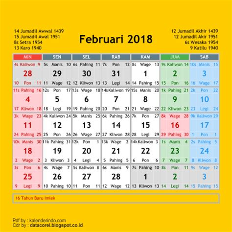 Kalender 2018 Bulan Februari Jawa Kalender 2018 Cdr 12 Bulan Free Design Corel
