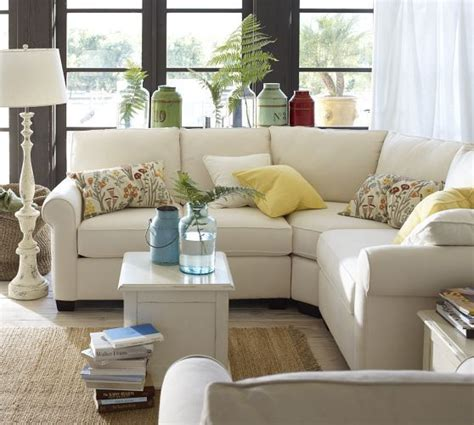 pottery barn couches sectionals i want buchanan curved 3 piece small sectional with