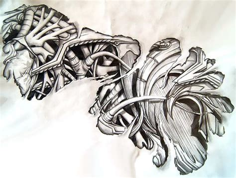 great sleeve tattoo design for men biomechanical tattoo