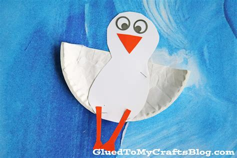 Paper Plate Seagull Craft - paper plate seagull kid craft glued to my crafts
