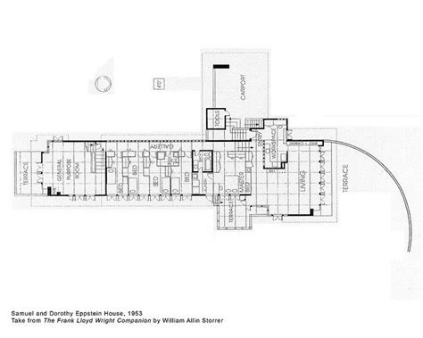 zimmerman house floor plan samuel and dorothy eppstein house plan 1953 frank lloyd