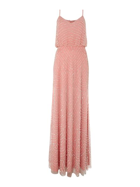 beaded deco dress lyst papell deco beaded dress in pink