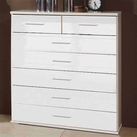 White Wide Chest Of Drawers Alton Wide Chest Of Drawers In High Gloss Alpine White