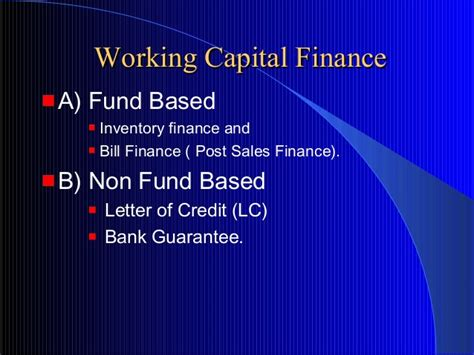 Post Finance Letter Of Credit How To Assess Working Capital Requirement