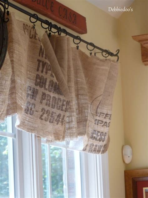 how to make curtains out of burlap diy no sew burlap kitchen valances made from coffee bags