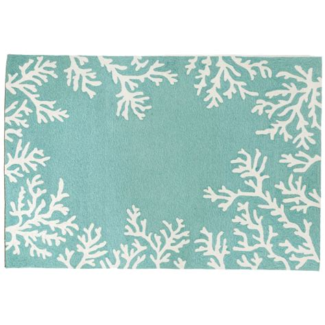 Coral Border Aqua Rug Indoor Outdoor Rug Coral Indoor Outdoor Rug