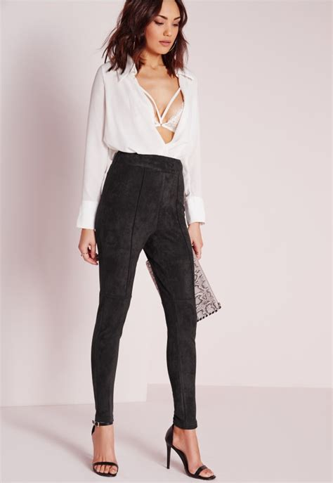 Combo Ripped Highwaist faux suede high waist black missguided