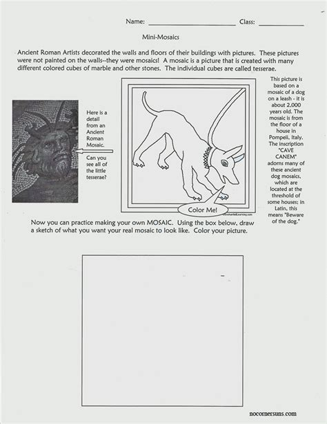 ancient rome worksheets no corner suns ancient mini mosaics worksheet
