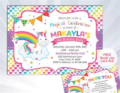 printable rainbow unicorn invitations rainbow unicorn invitation unicorn birthday invitation