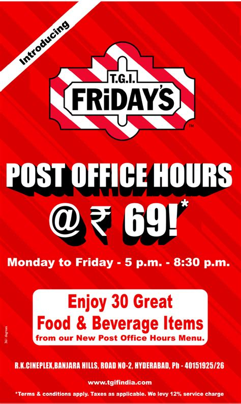 t g i friday s offers post office hours snacks at rs 69