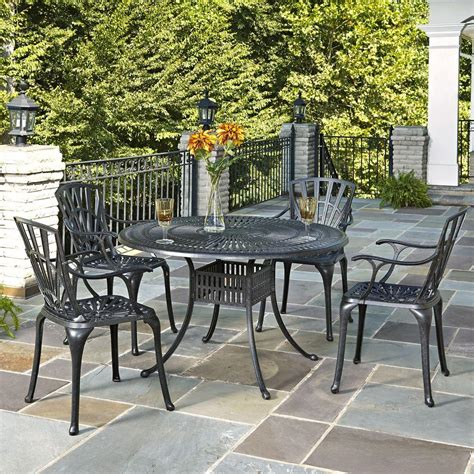 home styles largo   cast aluminum charcoal outdoor  piece patio dining set