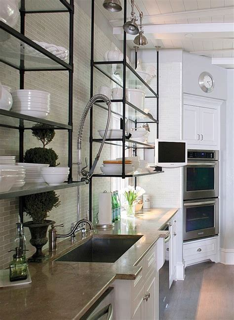 glass kitchen shelves 25 best ideas about metal kitchen shelves on
