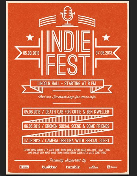 indie fest flyer template graphics pinterest