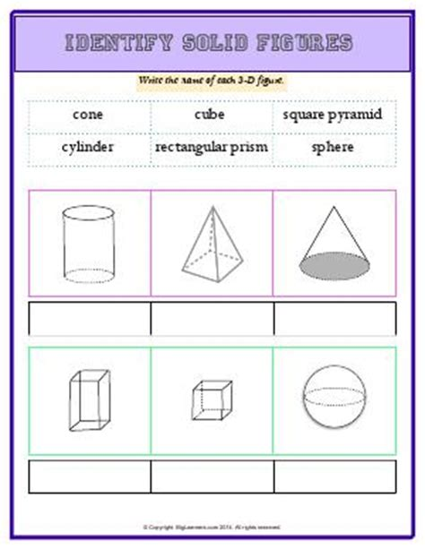 pattern identification math solid figures third grade math worksheets biglearners