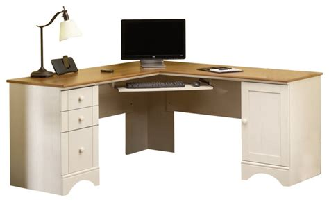 Sauder Harbor View Corner Computer Desk Sauder Harbor View Corner Computer Desk In Antiqued White Transitional Office Carts And