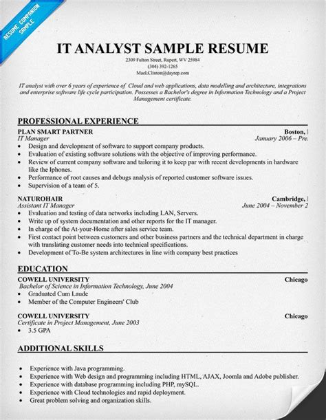 sas data analyst resume sle it analyst resume resumecompanion my style