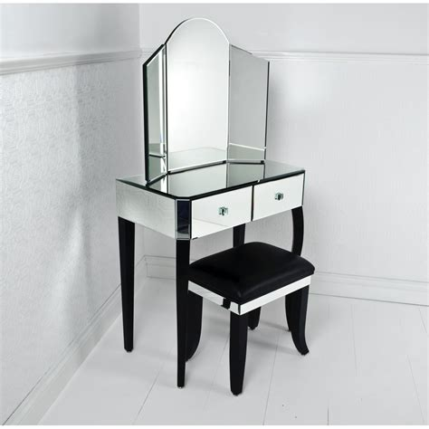 Glass Vanity Table Small Glass Bedroom Vanity Table With Storage And Bench Set Decofurnish